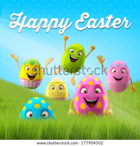 Happy Easter eggs, merry 3D set, spring series, happy cartoon objects - stock photo