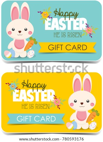 Cute bunny girls colorful clothes vector stock vector 712640848 happy easter gift cards cute bunny negle Images