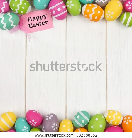 Happy easter gift tag colorful easter stock photo royalty free happy easter gift tag with colorful easter egg double border against a white wood background negle Image collections