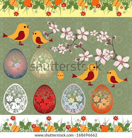 Happy Easter greeting card birds and branch on green