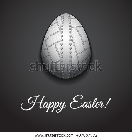 Happy Easter greeting card design with creative metal easter egg on dark background and sign Happy Easter, illustration.
