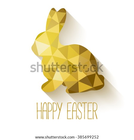 Happy Easter greeting card in low poly triangle style.  Flat design polygon of golden easter bunny isolated on white background. Raster copy. - stock photo