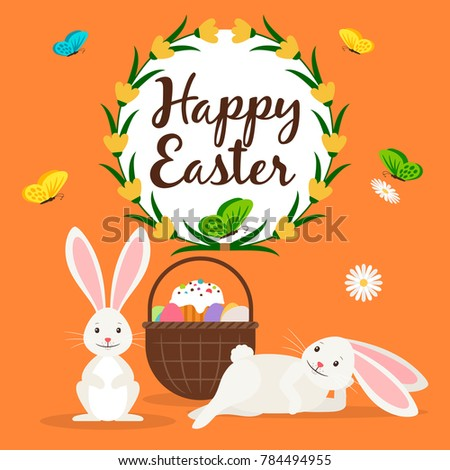 Happy Easter Greeting Card Template Rabbits Stock Illustration