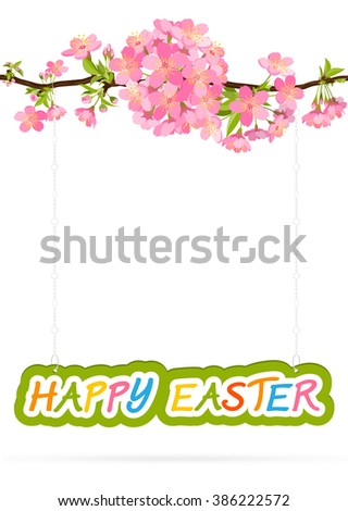 Happy Easter - Greeting Card Template with White Background - Pendant Shield hanging on Cherry Blossom Branch - Graphic Illustration - stock photo
