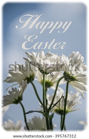 Happy Easter Greeting card with text, daisies and border - stock photo
