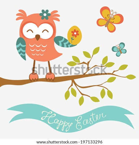 Happy Easter owl sitting on a branch holding Easter egg - stock photo