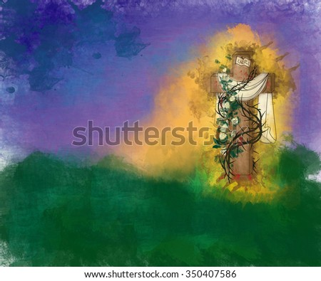 Happy Easter Risen Christ religious greeting card background, artistic abstract watercolor illustration, with empty cross with thorns - stock photo