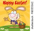 Happy Easter Text Above A Waving Bunny With Easter Eggs And Basket. Raster Illustration.Vector version also available in portfolio. - stock photo