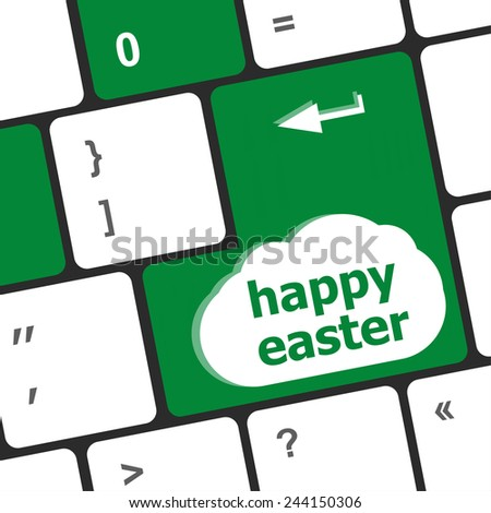 happy Easter text button on keyboard - stock photo