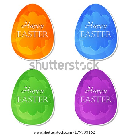 Happy Easter text on four colors labels, easter eggs with spring daisy flowers, holiday seasonal concept, flat design