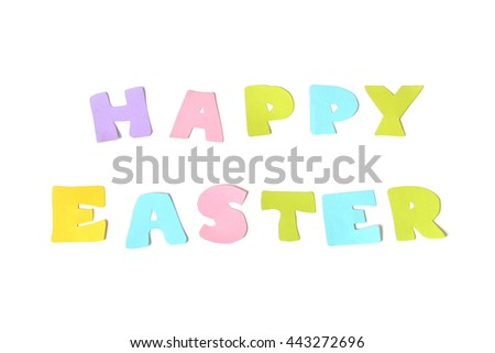 Happy easter text on white background - isolated  - stock photo