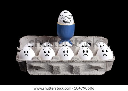 Happy eggs with smiley faces in eggshell with a boss over their head - stock photo