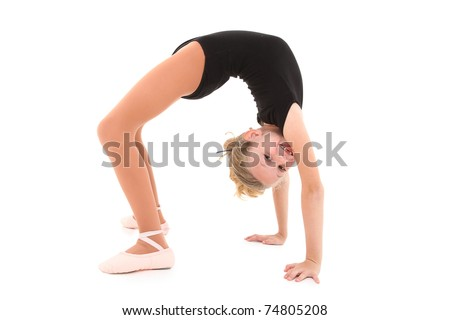 Happy eight year old caucasian girl in ballerina uniform doing bridge up, back bend over white with clipping path. - stock photo