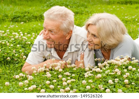 Happy elderly couple enjoying each other's company on the nature
