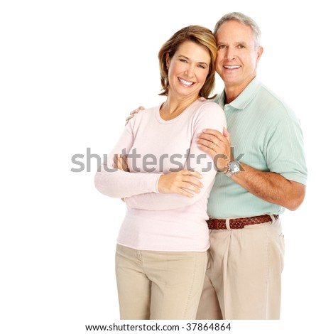 Happy elderly couple in love. Isolated over white background - stock photo