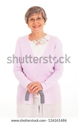 happy elderly lady with walking cane isolated on white - stock photo