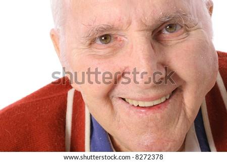 happy elderly man isolated on white - stock photo