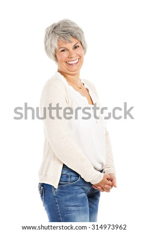 Happy elderly woman smiling, isolated on white background