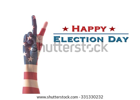 Happy election day text announcement message: Isolated  V shape hand sign for voting campaign with American flag pattern texture on white background: USA election day concept  - stock photo