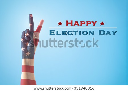 Happy election day text announcement message:  V shape hand sign for voting campaign with American flag pattern texture on blue sky with cloud background: USA election day concept   - stock photo