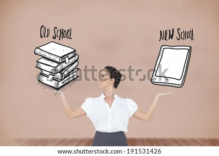 Happy elegant businesswoman posing with graphics against room with wooden floor - stock photo