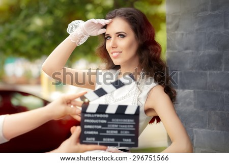 Happy Elegant Woman Ready for a Shoot - Young actress ready to film a new scene   - stock photo