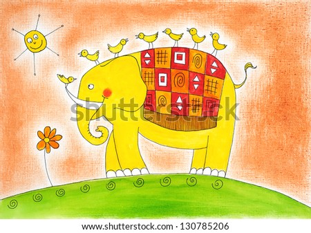 Happy elephant and birds, child's drawing, watercolor painting on paper