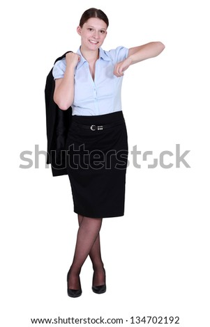 Happy employee standing on white background