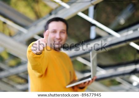 Happy engineer working - stock photo