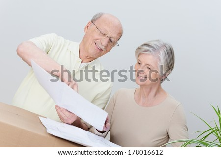 Happy enthusiastic elderly couple consulting a plan as they move house with their brown cartons and houseplant - stock photo