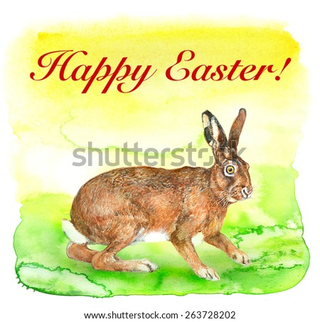 Happy ester greeting card. Easter hare on light green watercolor background - stock photo