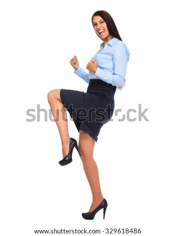 Happy excited business woman isolated white background. - stock photo