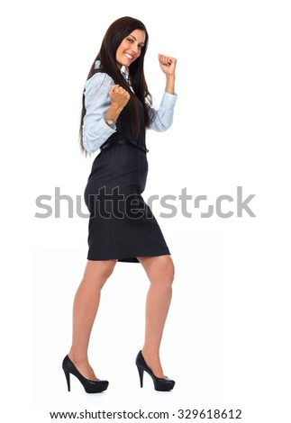 Happy excited business woman isolated white background.