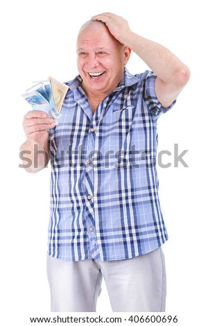 Happy, excited successful senior lucky elderly man holding money Euros banknotes in hand isolated white background. Positive emotion facial expression feeling. Financial reward savings - stock photo