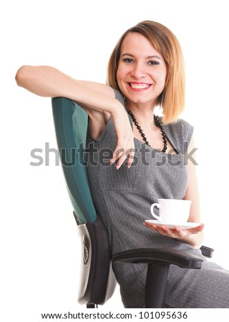 happy excited young businesswoman, relaxing in office chair, relax isolated on white - stock photo