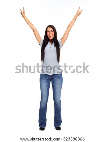 Happy excited young woman isolated white background.