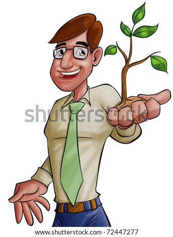 happy executive holding a young plant, this is a concept message about environment - stock photo