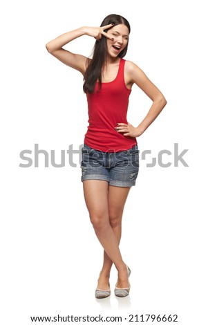 Happy expressive young woman posing in full length, over white background - stock photo