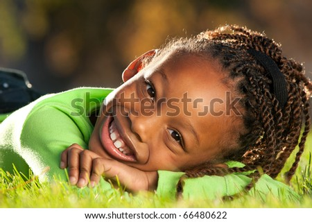 Happy Face of African American girl - stock photo