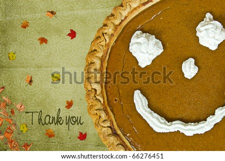 Happy face on pumpkin with thank you message - stock photo
