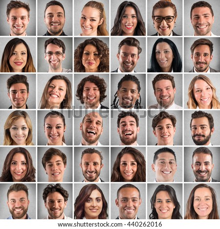 Happy faces collage - stock photo