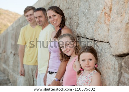 happy families, family group of parents with kids. - stock photo