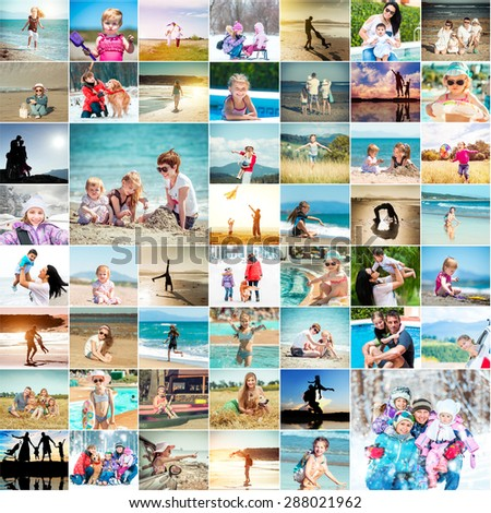 happy families spend their vacations. collage photos - stock photo