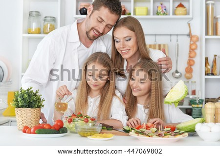 happy family at kitchen