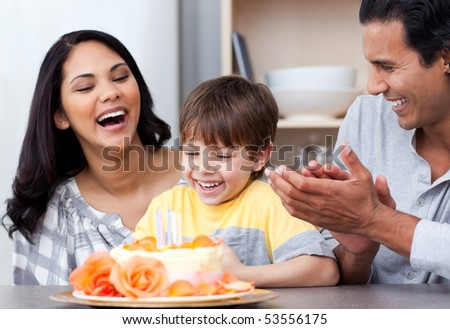 Happy family celebrating a birthday together