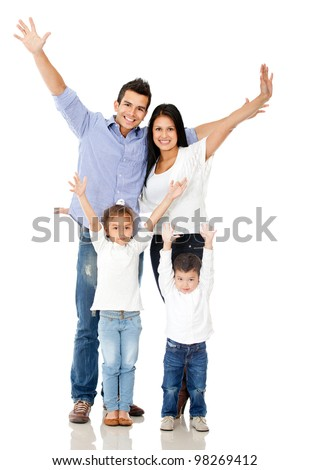 Happy family celebrating with arms up - isolated over a white background - stock photo