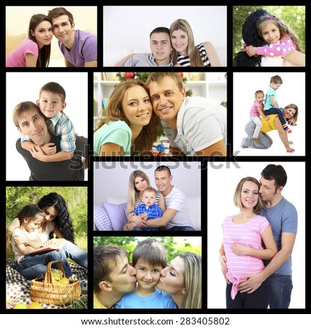Happy family collage - stock photo