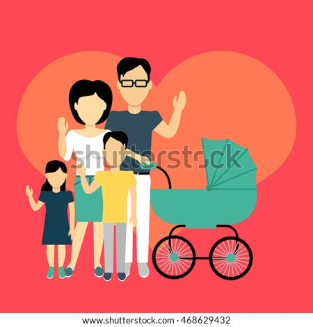 Happy family concept banner design flat style. Young family man and a woman with a son and daughter and a stroller for a newborn. Mother and father with child happiness lifestyle,  illustration