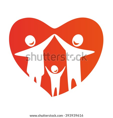 Happy family concept: father, mother and Child together. Heart symbol. Family illustration. Family logo. Family icon. Happy family illustration