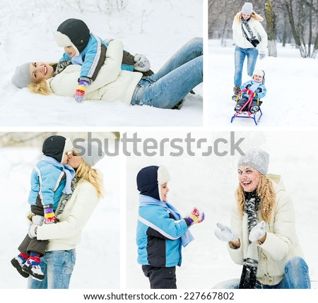 Happy family concept. Mother and her child playing with snow, wintertime. Collage. - stock photo